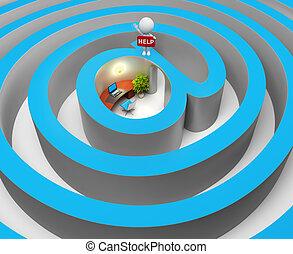 leute, labyrinth, -, internet, klein, 3d