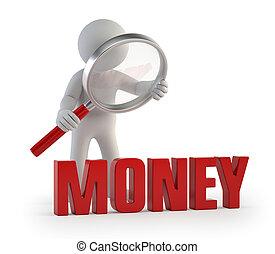 leute, lupe, geld, -, klein, 3d