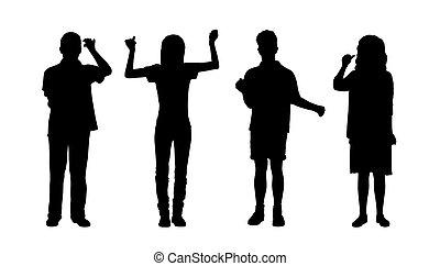 Leute mit Stand-Silhouetten Set 2.