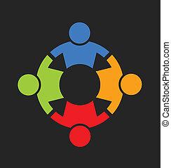 Leute mit starkem 4-Logo