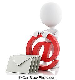 leute, symbol, envelope., weißes, e-mail, 3d