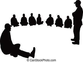 leute, vektor, gruppe, silhouette