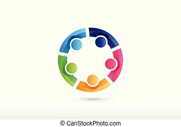 leute, zusammenarbeit, mannschaft, portion, halten hände, logo
