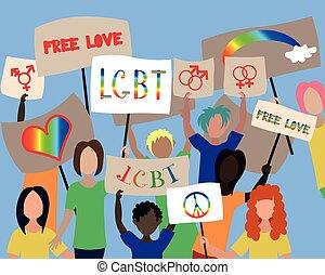 lgbt, gruppe, protestieren, leute, posters.