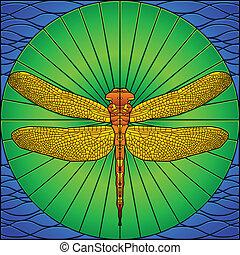 libelle, glasmalerei