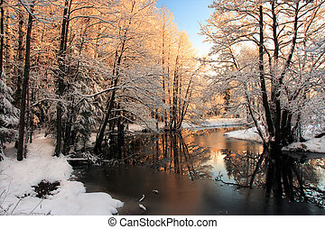 licht, fluß, winter, sonnenaufgang
