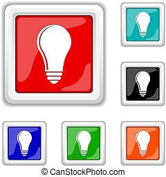 licht, -, idee, zwiebel, ikone