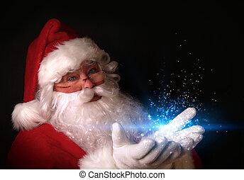 lichter, hände, magisch, santa, besitz