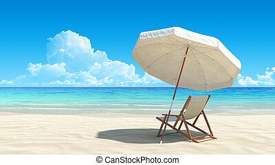 Liegestuhl und Sonnenschirm am idyllischen tropischen Sandstrand
