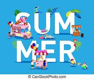 limonade, sommer, spielen, bild, eis, hersteller, creme, baden sonnen, kinder, creme, plots., vektor, getränk, verkauft