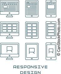 Line-Icons setzen flache Design- responsive Web-Entwicklung Service, Website Webpage Benutzeroberfläche auf verschiedenen Geräten. Moderne Vektorgrafiksammlung.