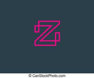 linear, company., dein, rosa, ikone, brief, logo, kreativ, z