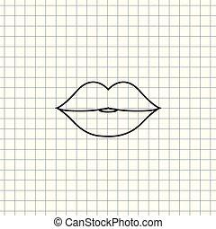 lippen, vektor, ikone