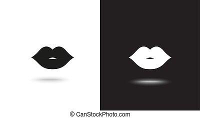 lippen, vektor, schwarzer hintergrund, weißes, ikone