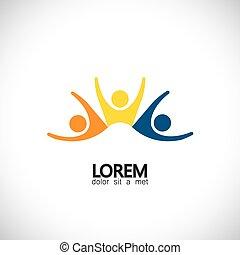 Lively happy aufgeregt Menschen Freunde Logo Konzept Vektor Icon
