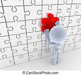 loesung, stichsaege, idee, puzzel, matching., concepts.