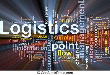 Logistik-Wort leuchtet