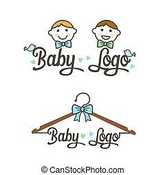 logo., abbildung, vektor, kinder