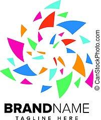 logo, abstrakt, technologie, pixel, medien