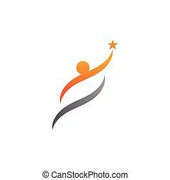 logo, erfolg, leben, schablone, leute, gemeinschaft, sorgfalt, heiligenbilder, gesundheit