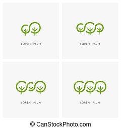 logo, familie, grün, satz