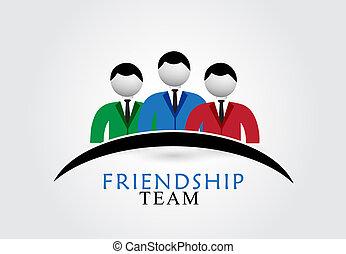 logo, freundschaft, mannschaft