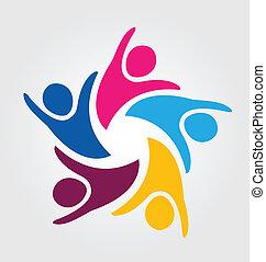 logo, gemeinschaftsarbeit, leute, einheit