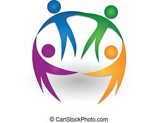 logo, gemeinschaftsarbeit, zusammen, leute