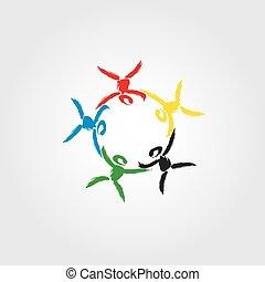 Logo Konzept der Gemeinschaft, Gewerkschaft, Solidarität, Partner, Kinder.