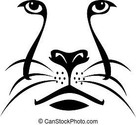 logo, löwe, silhouette, gesicht