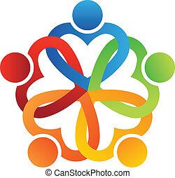 logo, mannschaft, verschachtelt, 5, herzen
