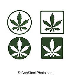 logo, natur, blatt, cannabis, gesundheit