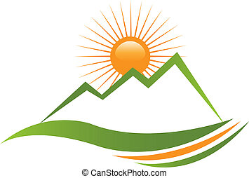 logo, sonnig, berg