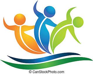 logo, swooshes, figuren, blättert, mannschaft