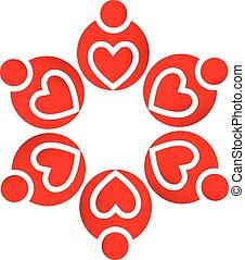 Logo-Teamwork liebt Herzen.