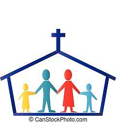 logo, vektor, familie, kirche