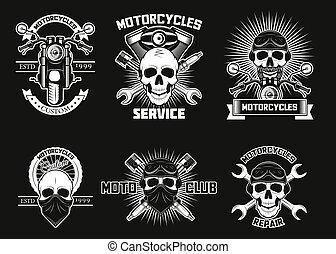 logos, vektor, weinlese, etiketten, moto, weißes, freigestellt, totenschädel, abbildung