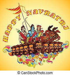 Lord rama,laxmana und sita mit ravana in happy dussehra.
