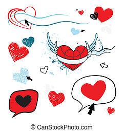 love., herz, isolated., abbildung