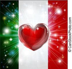 Love italy Flag herz Hintergrund.