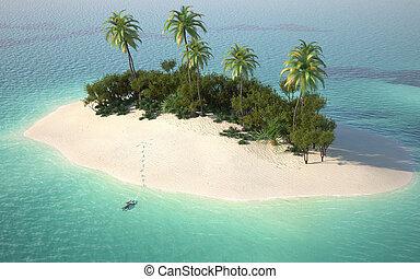 Luftaufnahme der karibischen Wüsteninsel