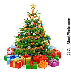 Lush Christmas tree with farful g