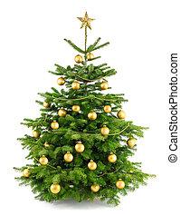 Lush Weihnachtsbaum mit Goldschmuck.