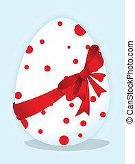 Lustige Eier mit rotem Bogen
