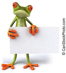 Lustiger Frosch mit einem leeren Schild.