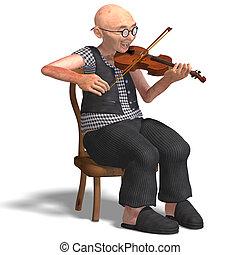 Lustiger Senior spielt Geige