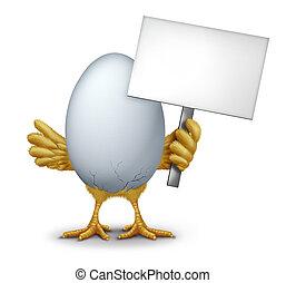 Lustiges Ei mit einem leeren Zeichen