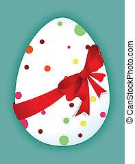 Lustiges Ei mit rotem Bogen