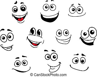lustiges, emotional, satz, karikatur, gesichter