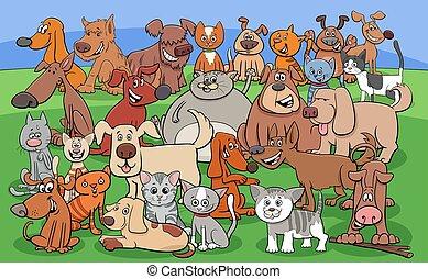 lustiges, karikatur, katzen, charaktere, hunden, gruppe